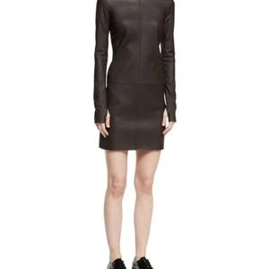 Helmut Lang Turtleneck Long-Sleeve  Leather Dress